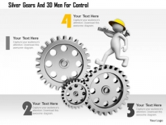Silver Gears And 3d Men For Control Ppt Graphics Icons