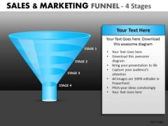 Simple 4 Stage Conversion Funnel For PowerPoint Presentations