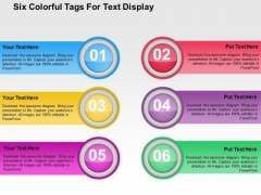 Six Colorful Tags For Text Display PowerPoint Template