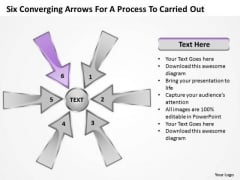 Six Coverging Arrows For Process To Carried Out Circular Cycle PowerPoint Templates