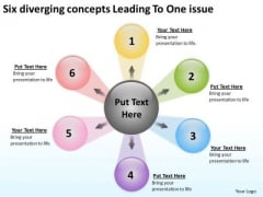 Six Diverging Concepts Leading To One Issue Cycle Process Diagram PowerPoint Slides