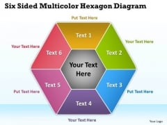 Six Sided Multicolor Hexagon Diagram Radial Process PowerPoint Templates