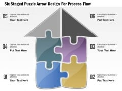 Six Staged Puzzle Arrow Design For Process Flow Presentation Template