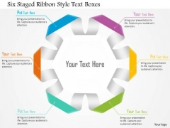 Six Staged Ribbon Style Text Boxes Presentation Template
