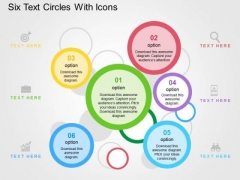 Six Text Circles With Icons PowerPoint Templates