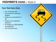 Slippery Road Highways Signs 3 PowerPoint Slides And Ppt Diagram Templates
