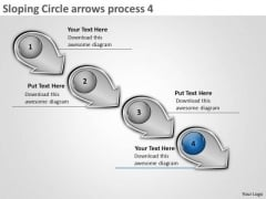 Sloping Circle Arrows Process 4 Create Flow Charts PowerPoint Slides