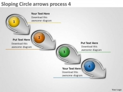 Sloping Circle Arrows Process 4 Production Flow Charts PowerPoint Templates