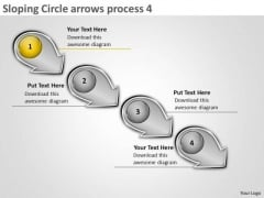 Sloping Circle Arrows Process 4 System Flow Charts PowerPoint Slides
