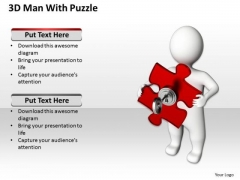 Small Business Network Diagram 3d Man With Key Puzzle PowerPoint Slides