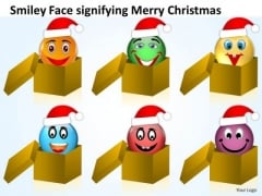 Smiley Face Signifying Merry Christmas Process Flow Chart Manufacturing PowerPoint Slides