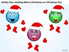 Smiley Faces As Santa Clause On Christmas Eve Merry Christmas PowerPoint Slides