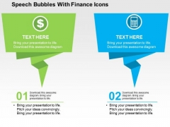 Speech Bubbles With Finance Icons PowerPoint Templates