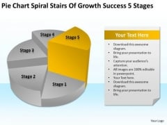 Spiral Stairs Of Growth Success 5 Stages Ppt Business Plan Template PowerPoint Slides