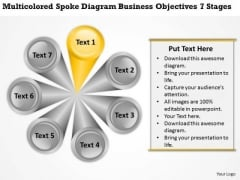 Spoke Diagram Business Objectives 7 Stages Plan Structure PowerPoint Templates