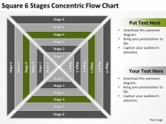 Square 6 Stages Concentric Flow Chart Business Plan PowerPoint Template