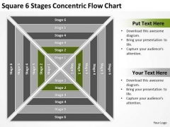 Square 6 Stages Concentric Flow Chart Ppt Business Plan PowerPoint Templates