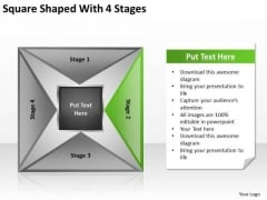 Square Shaped With 4 Stages Ppt Basic Business Plan PowerPoint Templates