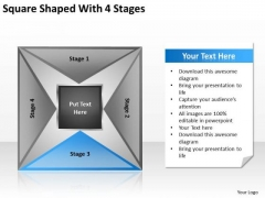 Square Shaped With 4 Stages Ppt Business Plan Model PowerPoint Slides