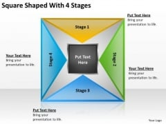 Square Shaped With 4 Stages Ppt How To Write Business Plan Free PowerPoint Templates