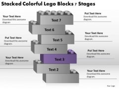 Stacked Colorful Lego Blocks 7 Stages Business Plan PowerPoint Slides