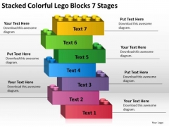 Stacked Colorful Lego Blocks 7 Stages Business Plan PowerPoint Templates