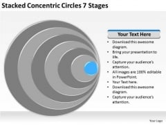 Stacked Concentric Circles 7 Stages Best Business Plans PowerPoint Templates
