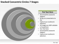 Stacked Concentric Circles 7 Stages Business Plan Free PowerPoint Slides