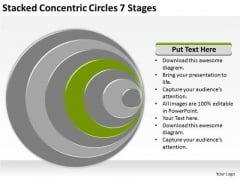 Stacked Concentric Circles 7 Stages Business Plan PowerPoint Templates