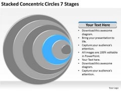 Stacked Concentric Circles 7 Stages Business Plans PowerPoint Slides