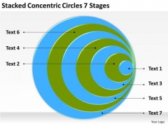 Stacked Concentric Circles 7 Stages How To Build Business Plan PowerPoint Slides