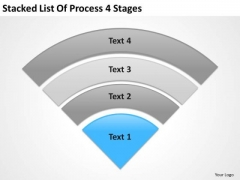 Stacked List Of Process 4 Stages How To Prepare Business Plan PowerPoint Slides