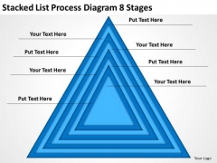 Stacked List Process Diagram 8 Stages Basic Business Plans PowerPoint Slides