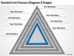 Stacked List Process Diagram 8 Stages Ppt Business Plan Structure PowerPoint Templates
