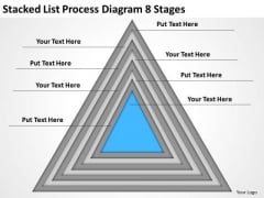 Stacked List Process Diagram 8 Stages Starting Business PowerPoint Slides