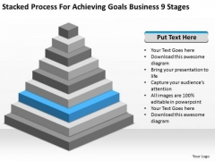 Stacked Process For Achieving Goals Business 9 Stages Plan PowerPoint Slides