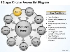 Stages Circular Process List Diagram Business Plan Software Comparison PowerPoint Templates