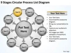 Stages Circular Process List Diagram Business Plan Software Comparison PowerPoint Templates