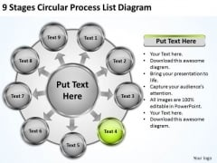 Stages Circular Process List Diagram Business Plan Software PowerPoint Templates