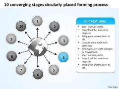Stages Circularly Placed Forming Process Flow Arrow Network PowerPoint Templates