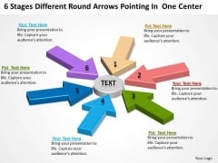 Stages Different Round Arrows Pointing One Center Strategic Business Plans PowerPoint Templates