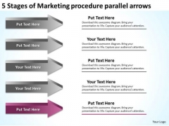 Stages Of Marketing Procedure Parallel Arrows Ppt Business Action Plan Template PowerPoint Slides