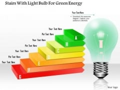 Stairs With Ligh Bulb For Green Energy PowerPoint Template