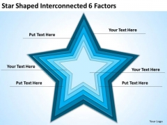 Star Shaped Interconnected 6 Factors Ppt Business Plan PowerPoint Templates