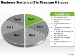 Statistical Pie Diagram 6 Stages Simple Business Plan Template Free PowerPoint Templates