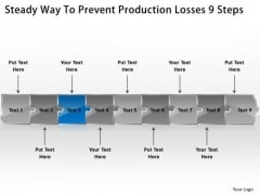 Steady Way To Prevent Production Losses 9 Steps Basic Process Flow Chart PowerPoint Templates