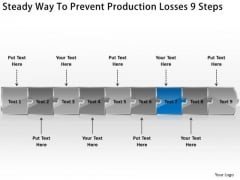 Steady Way To Prevent Production Losses 9 Steps Sales Process Flow Chart PowerPoint Slides