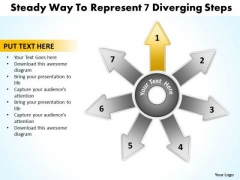 Steady Way To Represent 7 Diverging Step Relative Circular Arrow Chart PowerPoint Templates