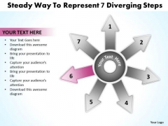 Steady Way To Represent 7 Diverging Steps Ppt Circular Flow Chart PowerPoint Slides
