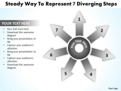 Steady Way To Represent 7 Diverging Steps Relative Circular Arrow Chart PowerPoint Templates